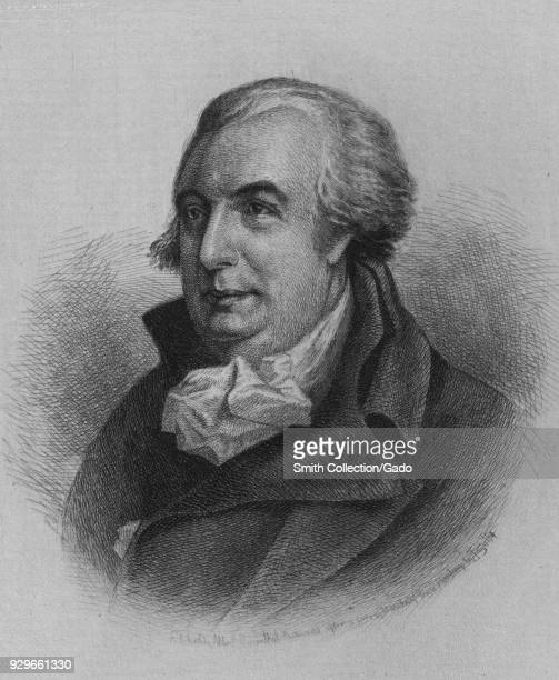 Engraved portrait of Gouverneur Morris Founding Father and United States Senator who is known for his significant contributions to the Constitution...