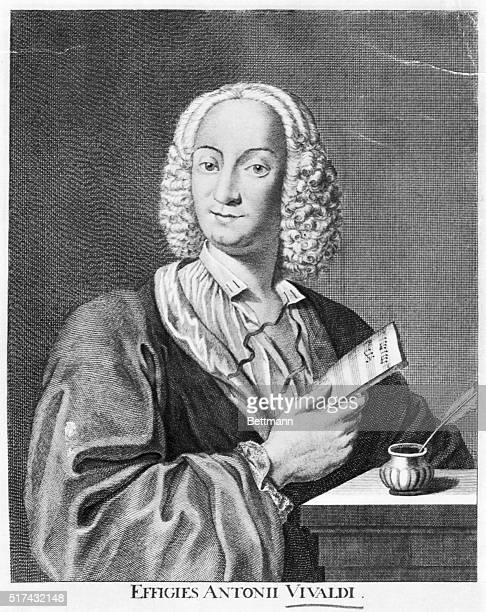 Engraved portrait of Italian Baroque composer Antonio Vivaldi He is shown waistup holding a partially written score Undated illustration