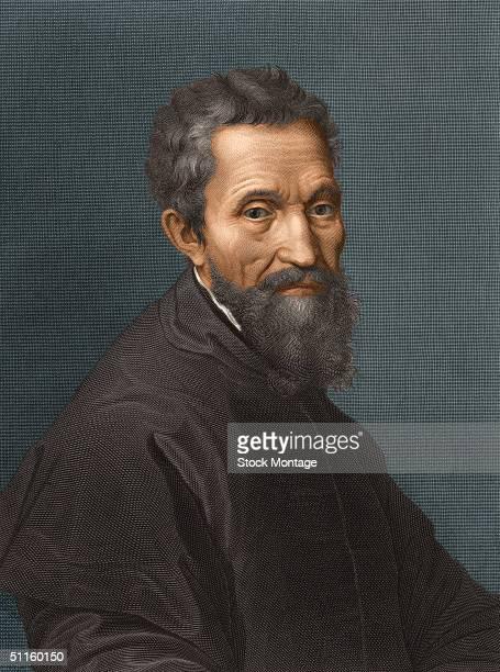 Engraved portrait of Italian sculptor painter architect and poet Michelangelo