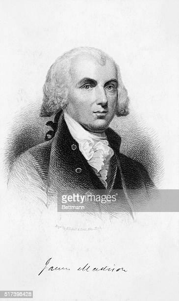 Engraved portrait of James Madison fourth president of the United States Undated illustration