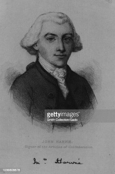 Engraved portrait of John Harvie signer of the Articles of Confederation an American lawyer and builder from Virginia 1870 From the New York Public...