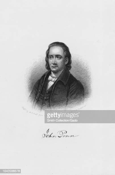 Engraved portrait of John Penn signer of the United States Declaration of Independence and the Articles of Confederation an American politician from...