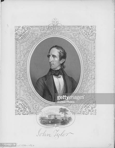 Engraved portrait of John Tyler tenth President of the United States an obscure President held in low esteem by modern historians circa 18411845