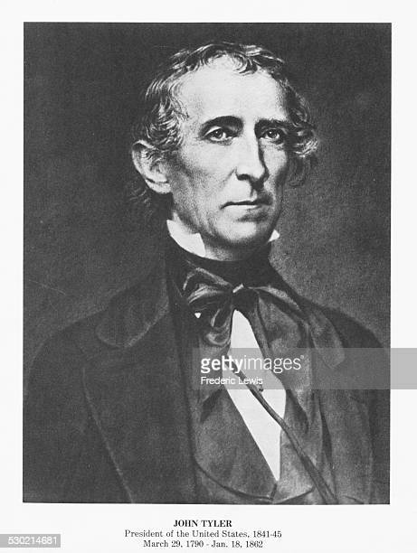 Engraved portrait of John Tyler tenth President of the US circa 1843