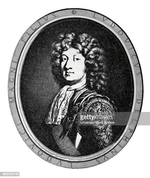 Engraved portrait of Louis Grand Dauphin heir apparent to the French throne Dated 17th Century