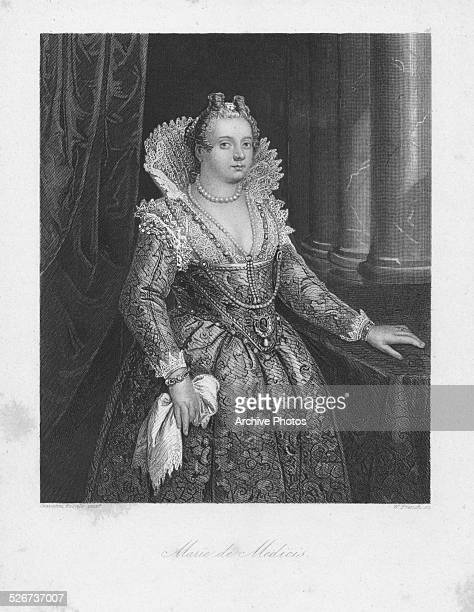 Engraved portrait of Marie de Medici Queen Consort of Henry IV of France circa 1600 Engraved by W French from the original by Giovanni Fasolo