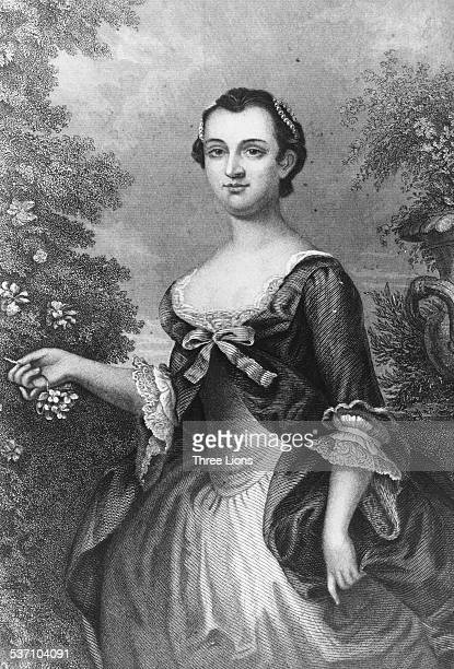 Engraved portrait of Martha Washington former First Lady of the United States circa 1770