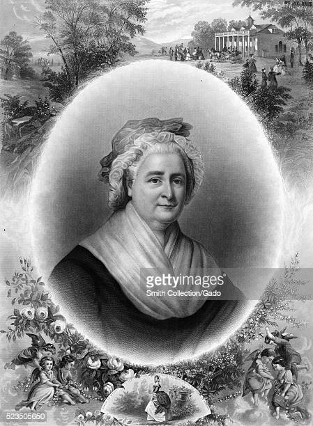 Engraved portrait of Martha Washington set in an oval in the center surrounded by at the bottom flowers cherubs and an image of her as a younger...