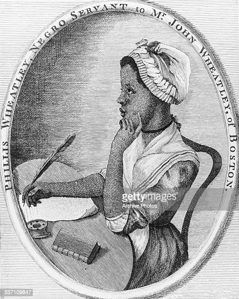 Engraved portrait of Phillis Wheatley at a writing desk the first published African American woman poet once a slave and servant to Mr John Wheatley...