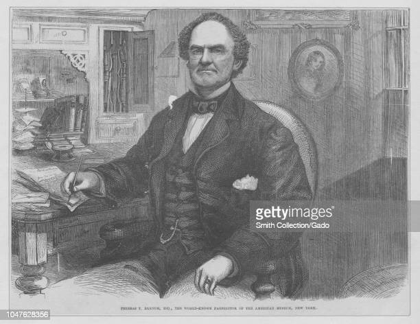 Engraved portrait of Phineas T Barnum an American showman politician author publisher and philanthropist from Bethel Connecticut 1870 From the New...
