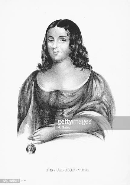 Engraved portrait of Pocahontas Virginian Native American circa 1600
