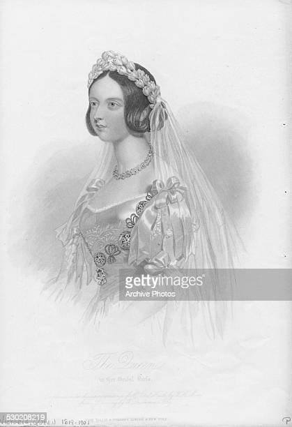 Engraved portrait of Queen Victoria wearing her wedding dress 1840