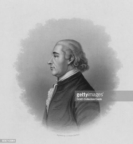Engraved portrait of Samuel Huntington 7th President of the Continental Congress who signed both the Declaration of Independence and Articles of...