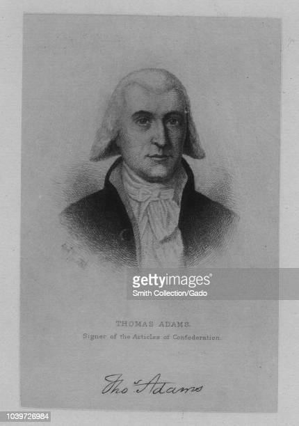 Engraved portrait of Thomas Adams signer of the Articles of Confederation an American politician and businessman from Virginia 1870 From the New York...