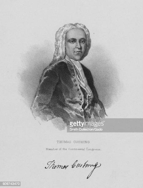 Engraved portrait of Thomas Cushing merchant and politician who served as a delegate to the Continental Congress and the first Lieutenant Governor of...