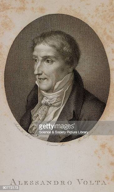 Engraved portrait of Volta from the frontispiece to the first volume of his �Collezione dell' opere del cavaliere Conte Alessandro Volta� published...
