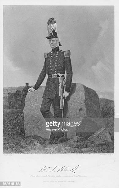 Engraved portrait of William Jenkins Worth, US General during the Mexican-American War, standing next to a large rock outdoors, circa 1830. Engraved...