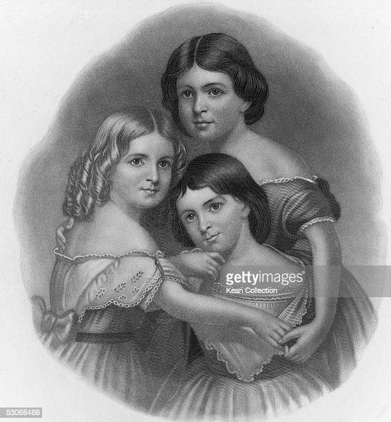 Engraved portrait shows three daughters of American poet Henry Wadsworth Longfellow after a painting by Thomas Buchanan Read 1859 The daughters to...
