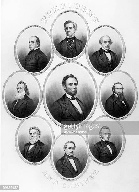 Engraved portraits of the US president Abraham Lincoln and his cabinet Edward Bates Hannibal Hamlin Salmon Chase William Seward Gideon Welles...