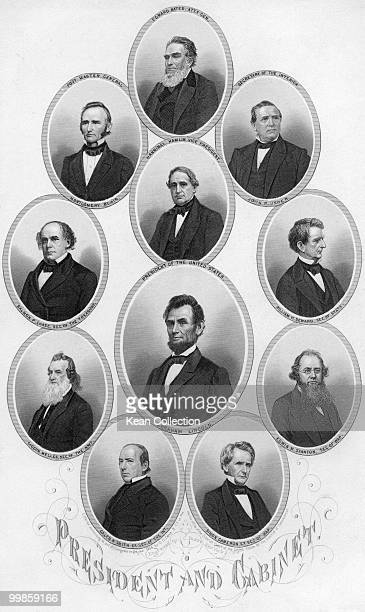 Engraved portraits of the US president Abraham Lincoln and his cabinet Edward Bates Montgomery Blair John Usher Hannibal Hamlin Salmon Chase William...