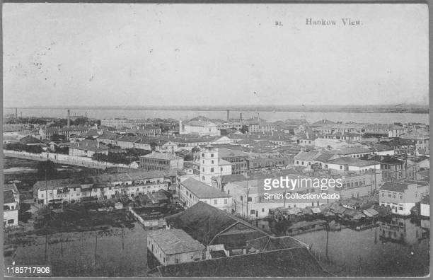 Engraved postcard of a cityscape view of the town of Hankou presentday Wuhan city Hubei province China published by Ta Fung and Co 1914 From the New...