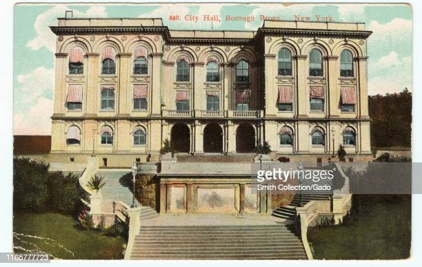Engraved postcard of the Bronx Borough Hall at Third Avenue and Tremont Avenue The Bronx New York City 1910 From the New York Public Library