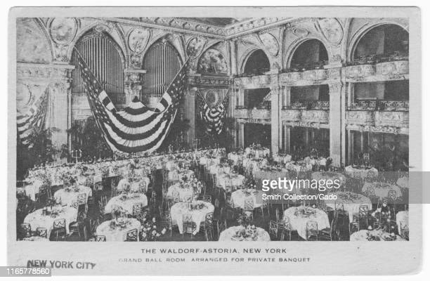 Engraved postcard of the Grand Ball Room at Waldorf Astoria, New York City, New York, 1920. From the New York Public Library.