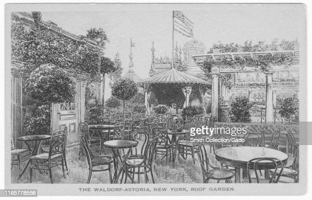 Engraved postcard of the roof garden at Waldorf Astoria, New York City, published by Sackett and Wilhelms Litho. And Print Co, 1908. From the New...