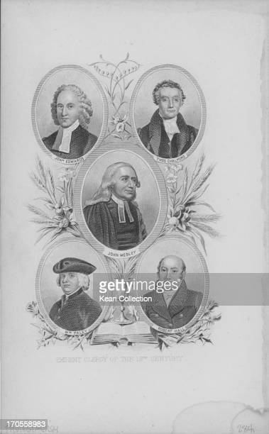Engraved printed portraits of the eminent Protestant clergy of the Church of England in the 18th Century, including John Wesley in the centre, circa...