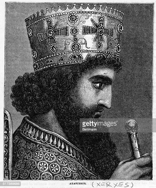 Engraved profile portrait of Xerxes King of Persia son of Darius I and Atossa Undated illustration