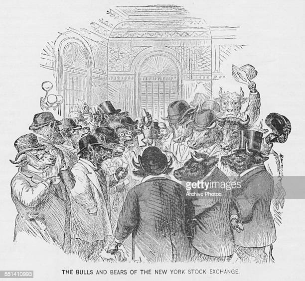 Engraved satirical cartoon depicting animals wearing suits as the bulls and the bears at the New York Stock Exchange on Wall Street New York City...