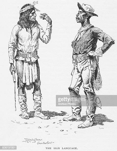 Engraved scene depicting a Buffalo Soldier of the United States Army or 'Negro Cavalry' talking to a Native American using sign language circa 1870