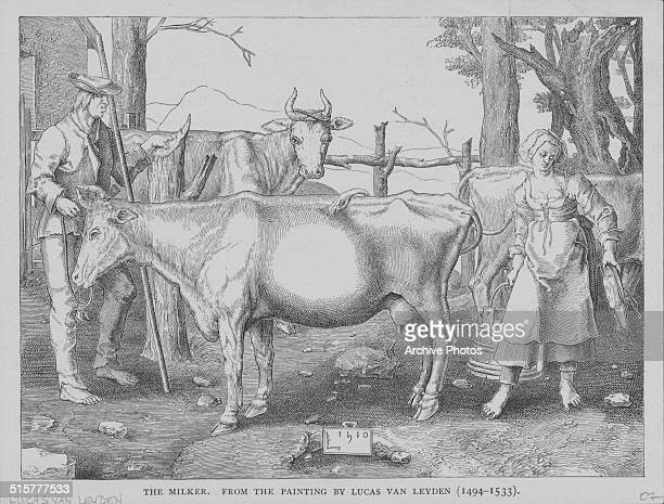 Engraved scene depicting a man and woman milking cows from the original painting 'The Milker' by Lucas van Leyden circa 1520