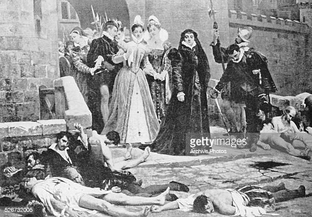 Engraved scene depicting Catherine de Medici surveying the aftermath of the St Bartholomew's Day Massacre, 1572.