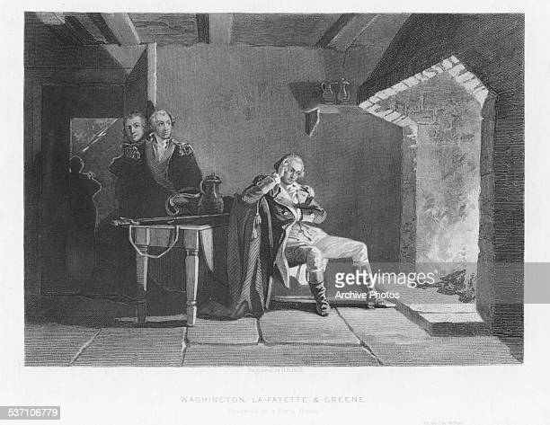 Engraved scene depicting George Washington contemplating in from of a fireplace watched by General Nathanael Greene and the Marquis de Lafayette...