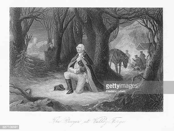 Engraved scene depicting George Washington praying in a woodland clearing at Valley Forge 1776