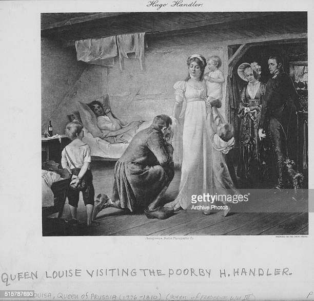 Engraved scene depicting Queen Louise of Prussia visiting the poor from the painting by H Handler circa 1800