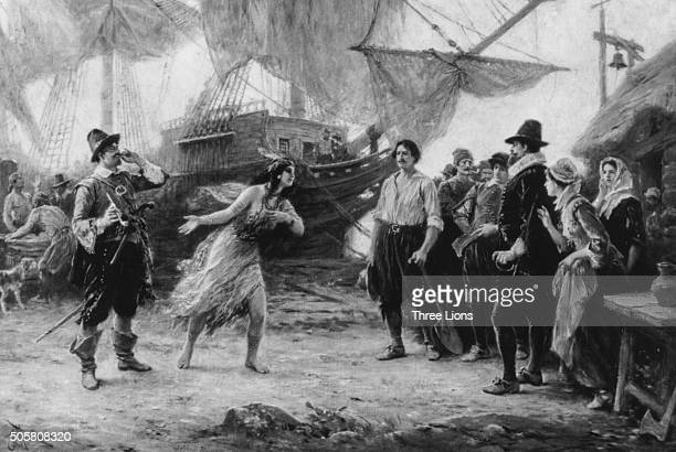 Engraved scene depicting 'The Abduction Of Pocahontas' by Captain Argall she was the daughter of the Chief Powhatan of the Potomac Native American...