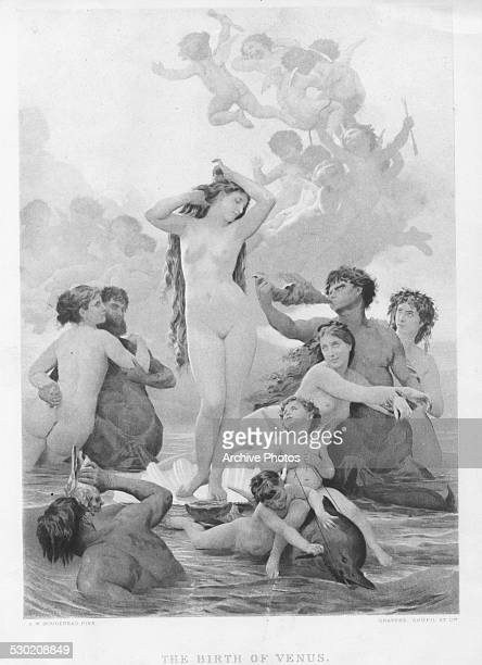 Engraved scene depicting the birth of Venus Goddess of love and beauty Engraved after the painting by A W Bougereau