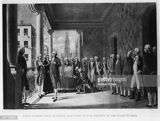 Engraved scene depicting the inauguration of George Washington as the first US President, surrounded by witnesses at Federal Hall, New York City,...