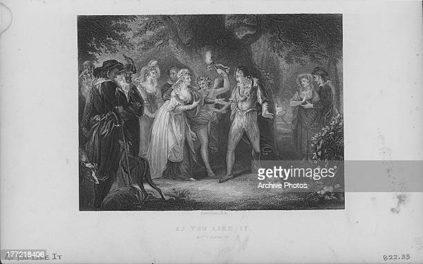 Engraved scene from the works of William Shakespeare As You Like It act V scene IV circa 15991600