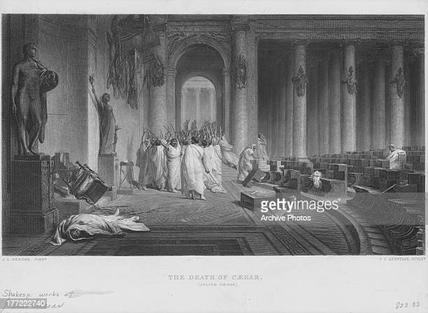 Engraved scene from the works of William Shakespeare the death of Caesar in 'The Tragedy of Julius Caesar' 1599