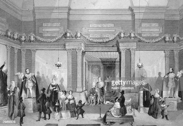Engraved scene of people visiting and looking at statues in Madame Tussauds Wax museum on Baker Street London circa 1830s