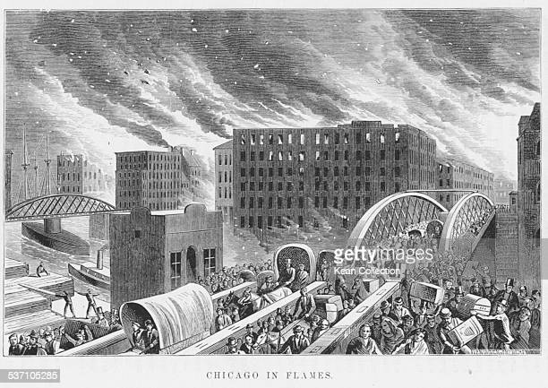 Engraved scene of the Great Chicago Fire, with people fleeing the city as the flames spread, Illinois, October 1871.