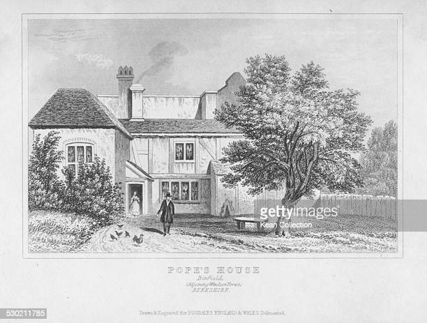 Engraved scene outside the home of poet Alexander Pope in Binfield Berkshire circa 1720