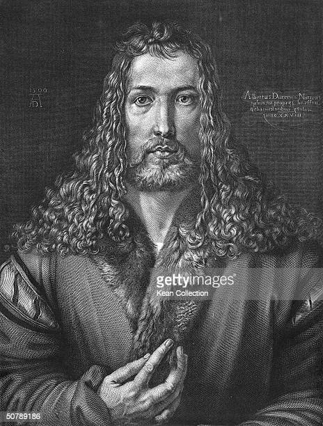 Engraved selfportrait of German artist Albrecht Durer