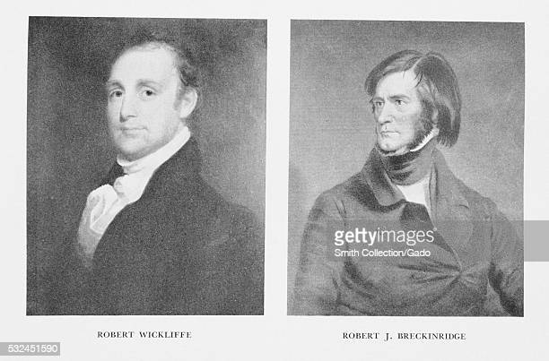 Engraved sidebyside portraits of Robert Wickliffe Lieutenant Governor and the 15th Governor of Louisiana from 185660 and Robert J Breckinridge...