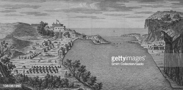Engraved south view of Oswego on Lake Ontario one of the five Great Lakes of North America Ontario Canada 1754 From the New York Public Library