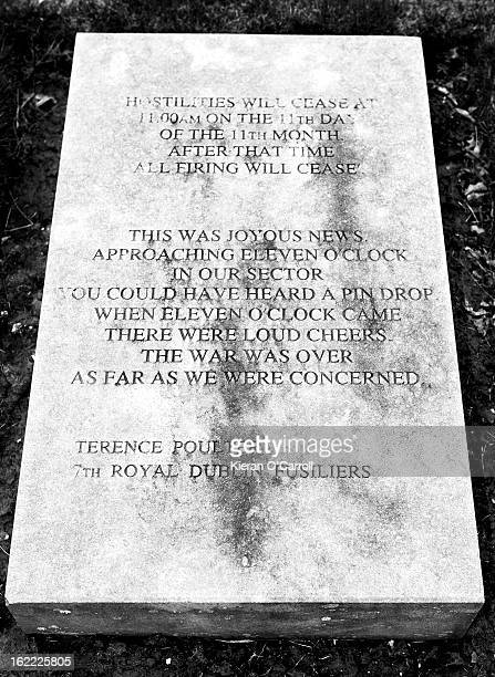 Engraved stone memorial remembering the end of World War 1. Words by Terence Poulter of the Royal Dublin Fusiliers.