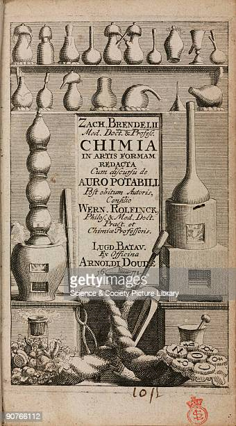 Engraved title page showing alchemical apparatus including alembics and other distillation vessels on shelves above furnaces In the foreground are...